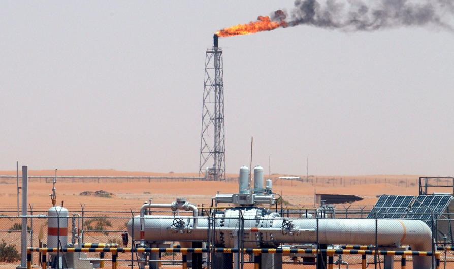 A gas flame burns in the Khurais oil field, near Riyadh, Saudi Arabia. The UK has given £447m loan to the country's petrochemical plant Sadara. Photograph: Ali Haider/EPA