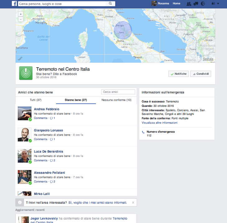 The Facebook Safety Chech durante il terremoto in Italia dell'ottobre 2016