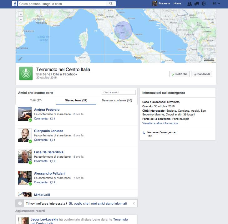The Facebook Safety Chech durante il terremoto in Italia dell'ottobre 2016